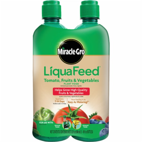 Miracle-Gro® LiquaFeed® Tomato Fruits & Vegetables Plant Food Refill Bottles - 2 Pack Perspective: front