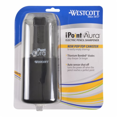 Westcott iPoint Aura Pencil Sharpener - Black and White Perspective: front