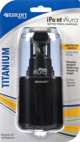 Westcott iPoint Aura Titanium Helical Blade Battery Powered Pencil Sharpener - Assorted Perspective: front