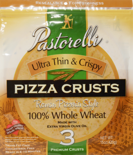 Pastorelli Whole Wheat Ultra Thin & Crispy Pizza Crusts 3 Count Perspective: front