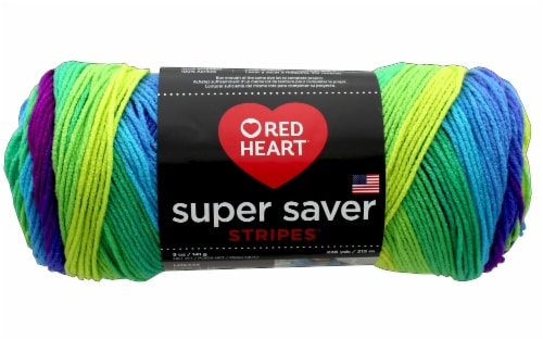 Red Heart Super Saver Stripes Yarn - Parrot Perspective: front