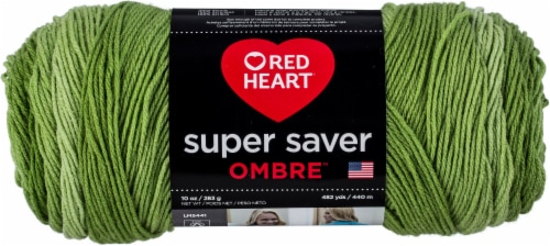 Red Heart Super Saver Ombre Yarn-Green Apple Perspective: front