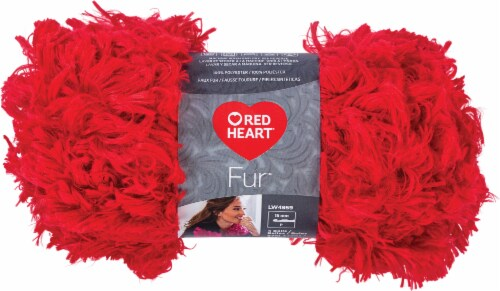 Red Heart Boutique Fur Yarn-Cherry Perspective: front