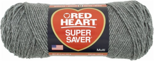 Red Heart Super Saver Yarn - Gray Heather Perspective: front