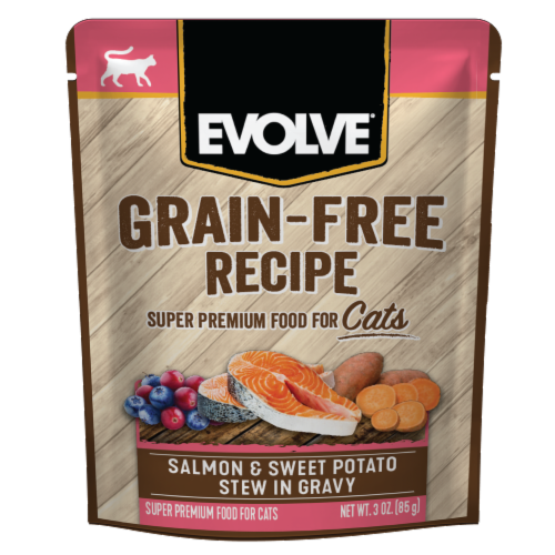 Evolve® Grain-Free Salmon & Sweet Potato Stew in Gravy Wet Cat Food Perspective: front