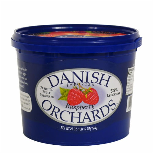 Danish Orchards Raspberry Fruit Preserves Perspective: front