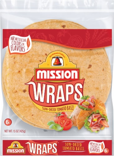 Mission Sun-Dried Tomato Basil Wraps 6 Count Perspective: front