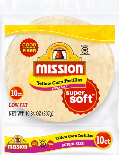 Mission Super Size Yellow Corn Tortillas 10 Count Perspective: front