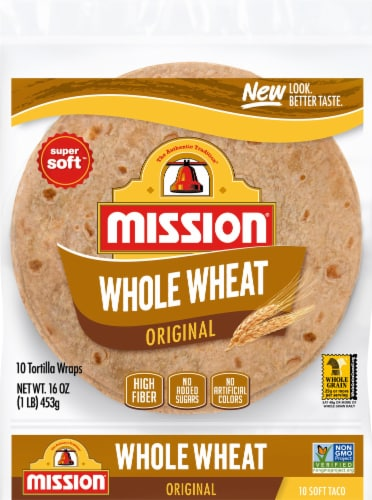 Mission 100% Whole Wheat Soft Taco Flour Tortillas 10 Count Perspective: front
