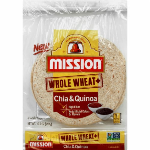 Mission Whole Wheat Chia & Quinoa Tortilla Wraps 6 Count Perspective: front