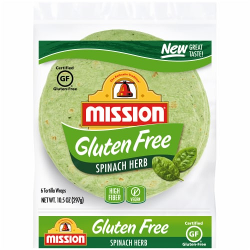 Mission Gluten Free Spinach Herb Tortillas 6 Count Perspective: front