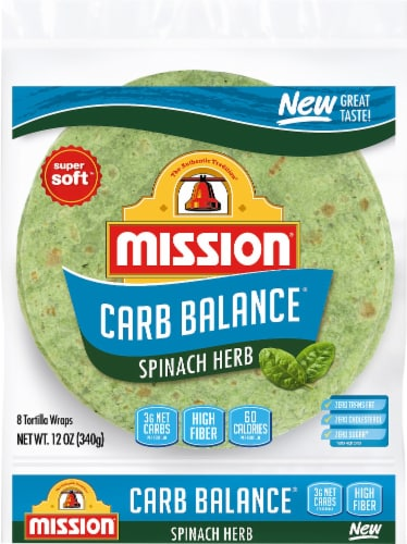 Mission Carb Balance Spinach Herb Tortilla Wraps 8 Count Perspective: front