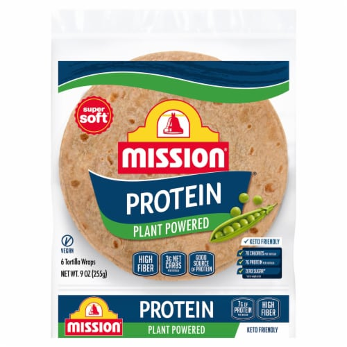 Mission Protein Plant Powered Tortilla Wraps 6 Count Perspective: front