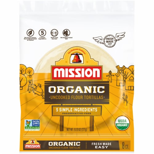 Mission Organic Uncooked Flour Tortillas 8 Count Perspective: front