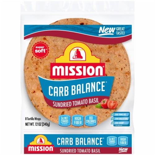 Mission Carb Balance Sundried Tomato Basil Tortilla Wraps Perspective: front
