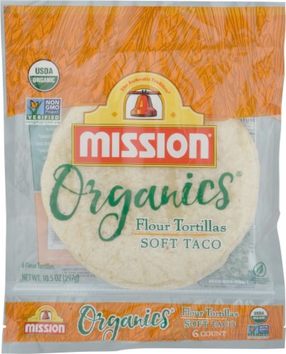 Mission Organic Soft Taco Flour Tortillas 6 Count Perspective: front
