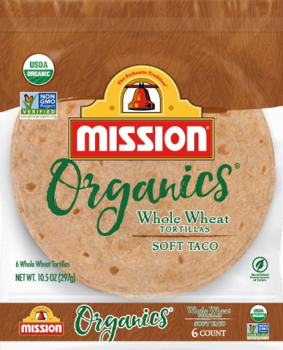 Mission Organic Whole Wheat Tortillas 6 Count Perspective: front