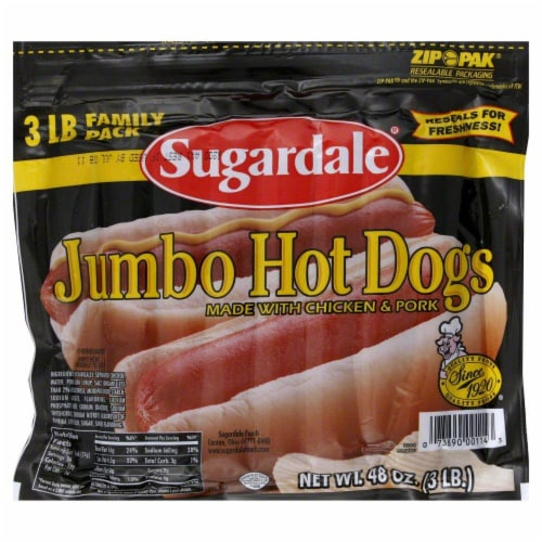 Sugardale Jumbo Hot Dogs Perspective: front