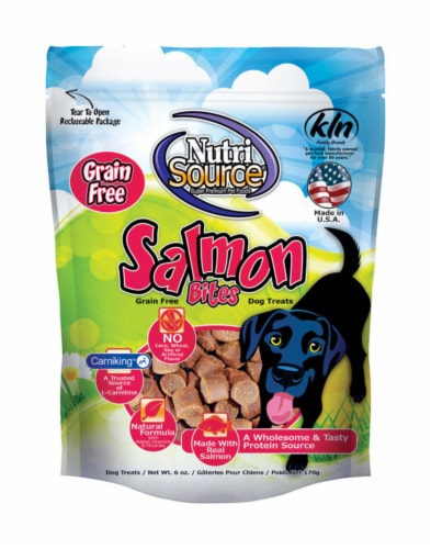 Nutri Source Salmon Grain Free Treats For Dogs 6 oz. 1 pk - Case Of: 12; Each Pack Qty: 1; Perspective: front