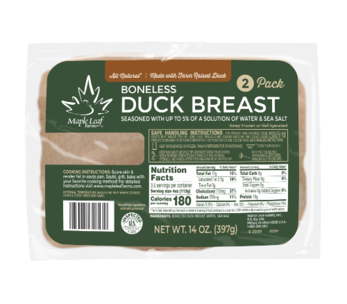 Maple Leaf Farms All Natural Boneless Duck Breast 2 Pack Perspective: front