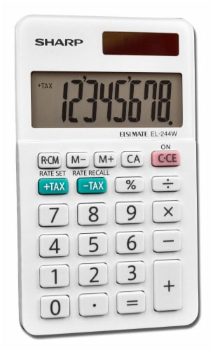 Sharp 8-Digit Professional Pocket Calculator - White Perspective: front