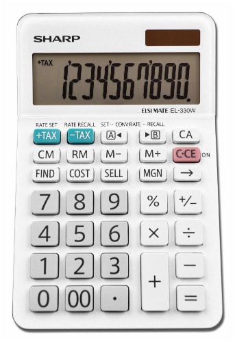 Sharp 10-Digit Professional Desktop Calculator - White Perspective: front