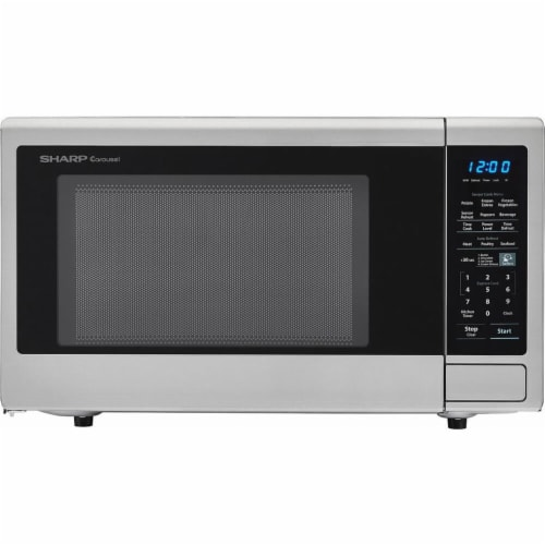 Sharp Stainless Steel Carousel Countertop Microwave Oven - Silver/Black Perspective: front