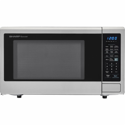 Sharp Carousel 1100 Watt Counterop Stainless Steel Microwave Oven Perspective: front