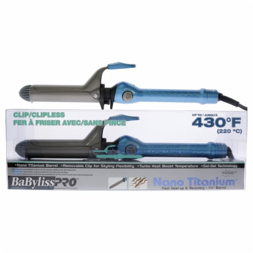 BaBylissPRO Nano Titanium ClipClipless Curling Iron  BABNT5125CSC  Blue 1.25 Inch Perspective: front