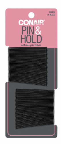 Conair Pin & Hold Curved Black Bobby Pins Perspective: front