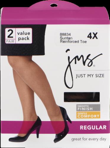 Just My Size® Women's Reinforced Toe Regular Pantyhose - 2 Pack - Suntan Perspective: front