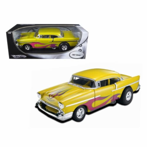 1957 Chevrolet Drag Car Yellow With Flames 1/18 Diecast Car Model by Hotwheels Perspective: front