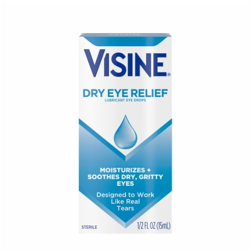 Visine Tears Dry Eye Relief Lubricant Eye Drops Perspective: front