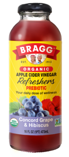 Bragg Refreshers ACV Concord Grape & Hibiscus Drink Perspective: front