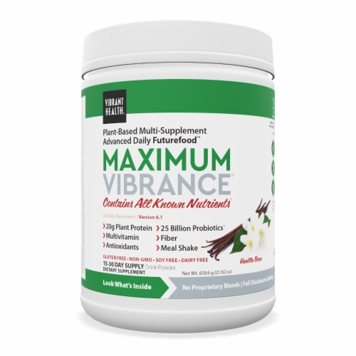 Vibrant Health Maximum Vibrance Vanilla Bean Multi Supplement Powder Perspective: front