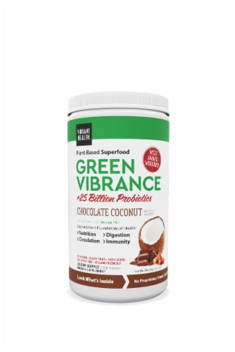 Vibrant Health Green Vibrance Chocolate Coconut Superfood Drink Powder Perspective: front
