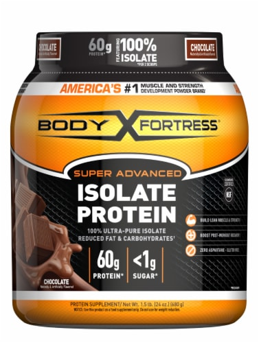 Body Fortress Super Advanced Chocolate Isolate Protein Powder Perspective: front