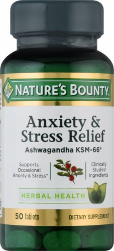 Nature's Bounty Anxiety & Stress Relief Ashwagandha Supplement Tablets Perspective: front