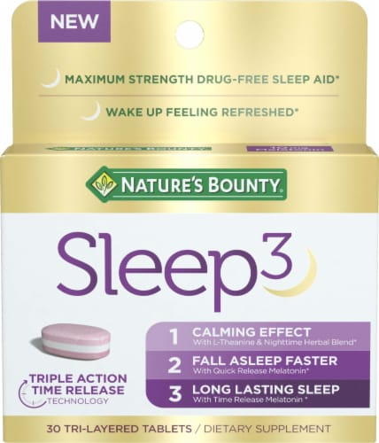 Nature's Bounty Sleep3 Sleep Aid Tri-Layered Tablets Perspective: front