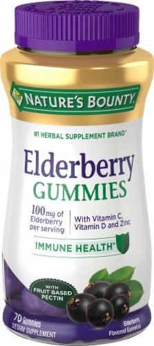 Nature's Bounty Elderberry Gummies 100mg 70 Count Perspective: front