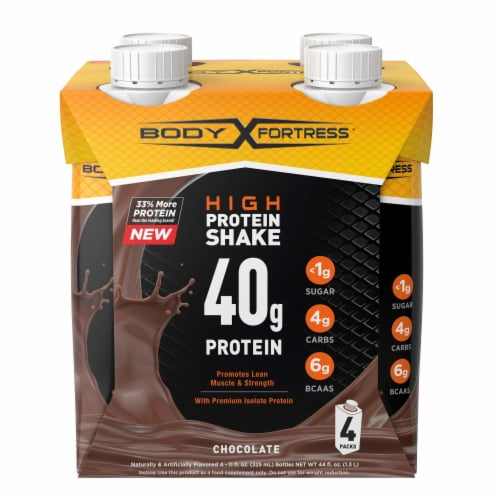 Body Fortress Chocolate High Protein Shake Perspective: front