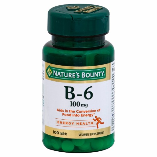 Nature's Bounty B6 Tablets 100mg Perspective: front