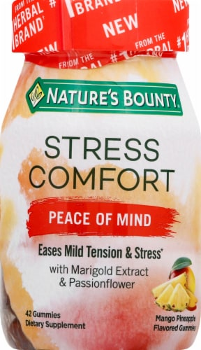 Nature's Bounty Stress Comfort Peace of Mind Mango Pineapple Flavored Gummies 42 Count Perspective: front