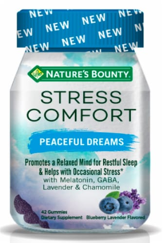 Nature's Bounty Stress Comfort Peaceful Dreams Blue Lavender Flavored Gummies Perspective: front