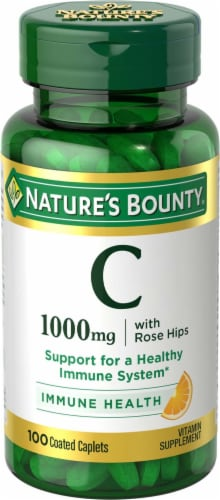 Nature's Bounty Vitamin C Caplets 1000mg Perspective: front