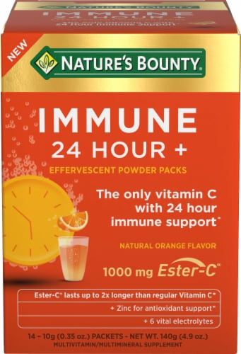 Nature's Bounty® Natural Orange Flavor Immune 24+ Effervescent Powder Packets 1000mg Perspective: front