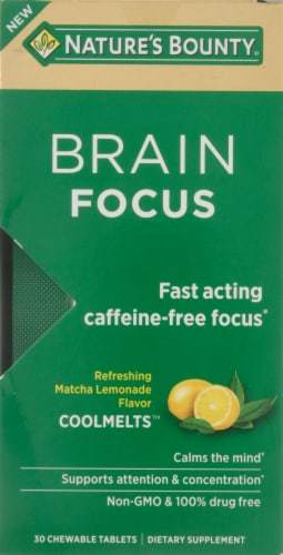 Nature's Bounty Brain Focus Matcha Lemon Flavored Cool Melts Perspective: front