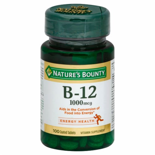 Nature's Bounty B-12 Tablets 1000mcg 100 Count Perspective: front