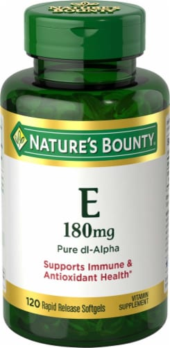 Nature's Bounty Vitamin E Pure dl-Alpha Rapid Release Softgels 180mg Perspective: front