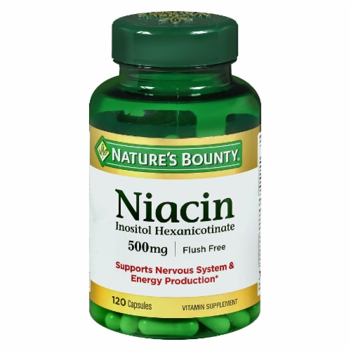 Nature's Bounty Flush Free Niacin Capsules 500mg Perspective: front